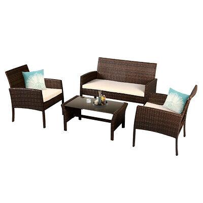 Garden Furniture - 4 Pieces Patio Furniture Wicker Rattan Sofa Set Garden Coffee Table