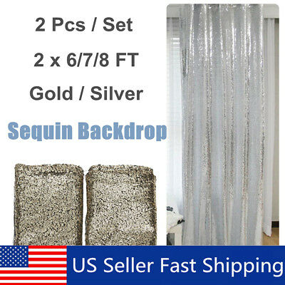 2 Panels Shimmer Sequin Curtain Potography Backdrop Home Party Decor - Curtains Decorations