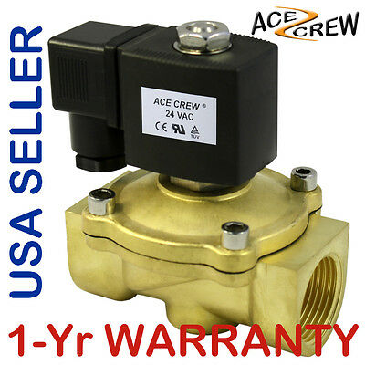 Viton 1 Inch 24v Ac Vac Brass Solenoid Valve Npt Gas Water Air Normally Closed