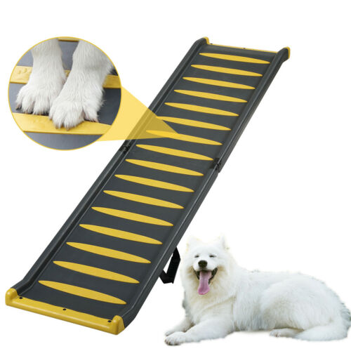 """63""""L Reinforced Folding Dog Ramps for Car, Pet Stair Step Ladder,Max.Load 330lbs"""