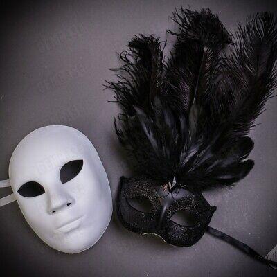 Black White Matching Masquerade Couple Masks Set Full Face Venetian Feather Mask