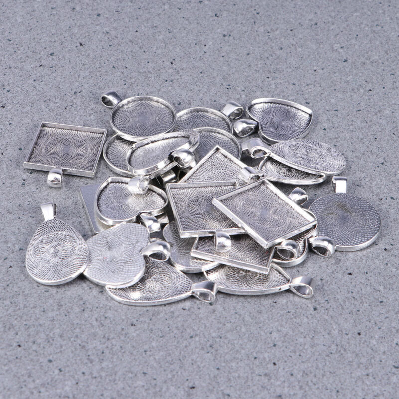 Jewellery - 24 Sets DIY Cabochon Bezel Frame Pendant Settings Jewelry Necklace + Blanks Tray