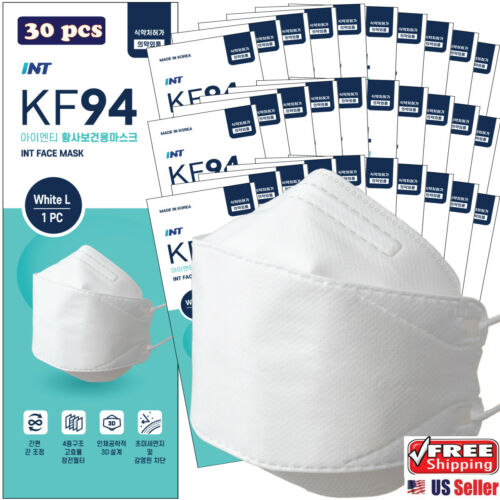 【 30 Pack 】 INT KF94 Certified White Face Mask,4-Layered,3D Ergonomic Mask