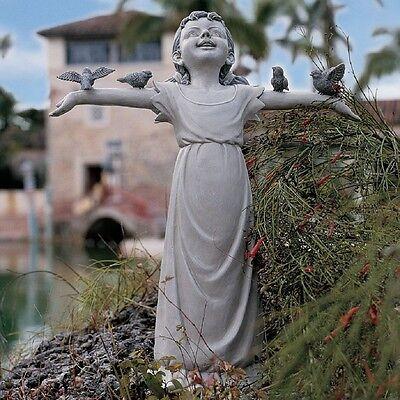 Girl Statue With Birds Medium Garden Sculpture Figurine Basking God Glory GIFT