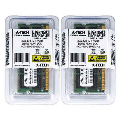 Atech 8GB Kit Lot 2x 4GB SODIMM DDR3 Laptop 8500 1066MHz 1066 204pin Ram Memory