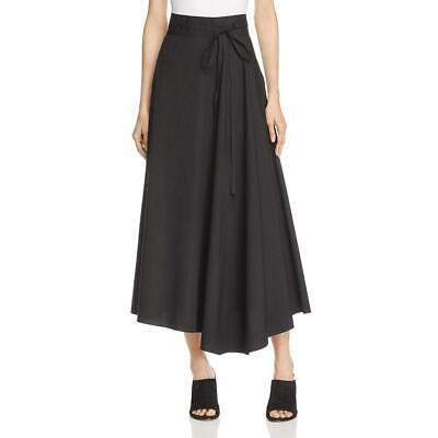 Theory Womens Jaberdina Black Poplin Asymmetric Casual Midi Skirt 2 BHFO 0652