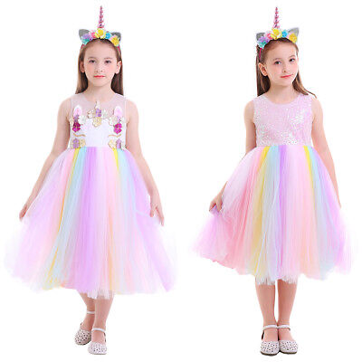 Mädchen Prinzessin Partykleid Tütü Festkleid mit Stirnband  (Prinzessin Kostüm Mit Tutu)
