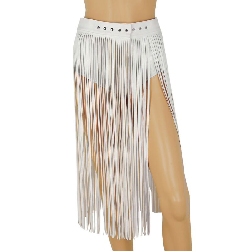 Hippie Boho Fringe Tassel Faux Leather Ladies Women Belt Long High Wide Belts JP