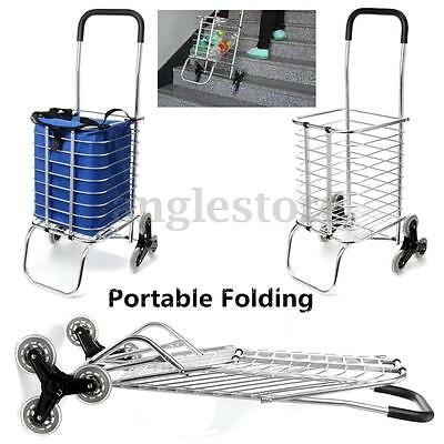 6 Wheel Aluminum Portable Folding Stair Climber Shopping Grocery Laundry Cart