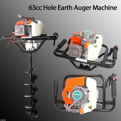 63cc 3hp Epa One Man Gas Power Head Hole Earth Auger Machine W6 Bit
