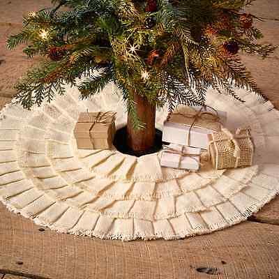 "BURLAP CREME MINI RUFFLED CHRISTMAS TREE SKIRT 21"" DIAMETER COTTON BURLAP"