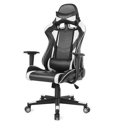 High Back Racing Office Gaming Chair Adjustable Pu Leather Computer Chair White