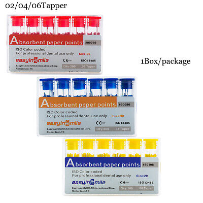 1box Absorbent Paper Points Endodontic 020406tapper For Dental Endo Easyinsmil