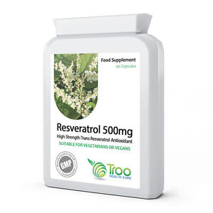 Resveratrol 500mg 90 Capsules High Strength Trans Resveratrol Potent Antioxident