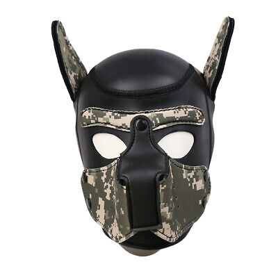 Dog Mask Leather (Leather Full Head Mask Dog Role Play Restraints Hood Puppy Cosplay Headgear)