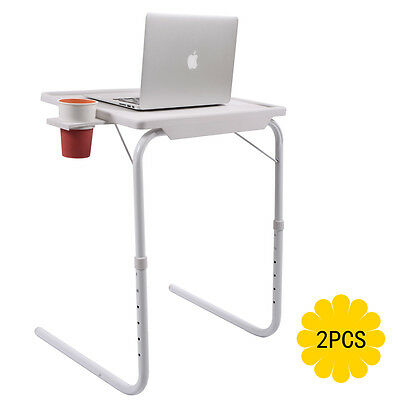 2 Smart Table Folding Adjustable Tray Foldable Desk W/Cup Holder