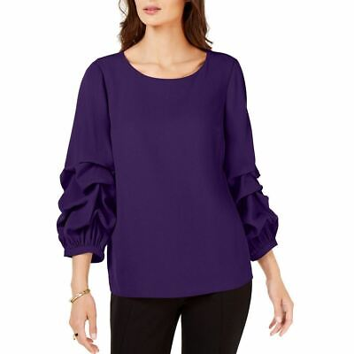 ALFANI NEW Women's Gathered Balloon-sleeve Blouse Shirt Top TEDO