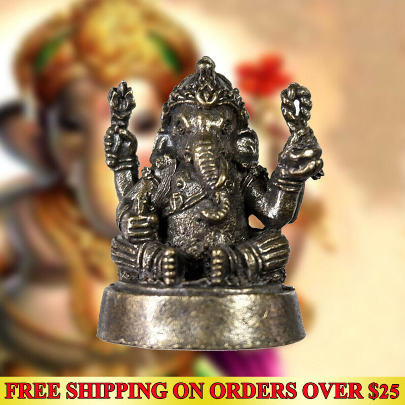 Miniature Thai Hindu Amulet LORD GANESHA Wealth Magic Talisman Life Success Luck