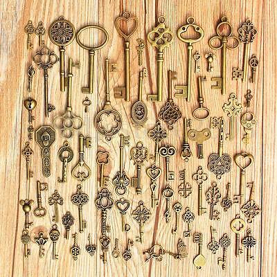 70pc Antique Vintage Old Look Bronze Skeleton Keys Fancy Heart Bow Pendant Decor 2