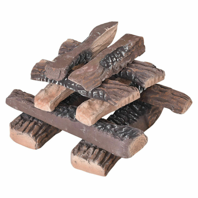 10PCS Ceramic Wood Logs Gas Fireplace Imitation Wood Propane Firepit Logs