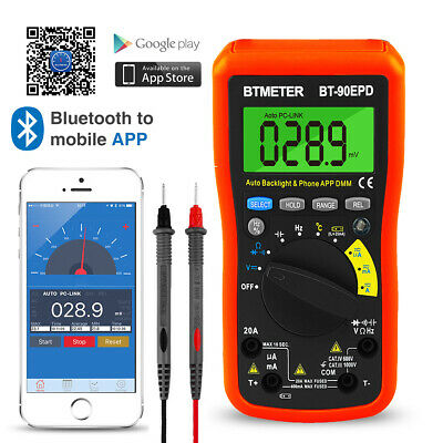 Digital Multimeter Dc Ac Meter Wireless Control App Bluetooth True Rms 20a 1000v