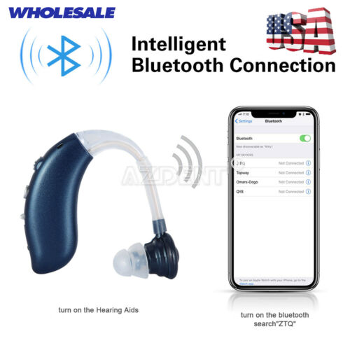 Bluetooth Mini Digital Hearing Aid Sound Rechargeable Amplifier+3* Ear Tips US