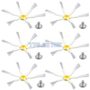 6 Side Brush For iRobot Roomba 500 600 700 Series 550 560 630 650 760 770 screws