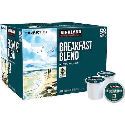 New 120 count Kirkland Signature Breakfast Blend Coffee K Cups Light Roast K-Pod