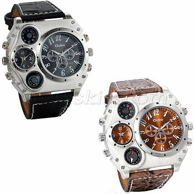 Mens Sport  Army Multi Functional 2 Time Zones Dial Leather Quartz Wrist Watch
