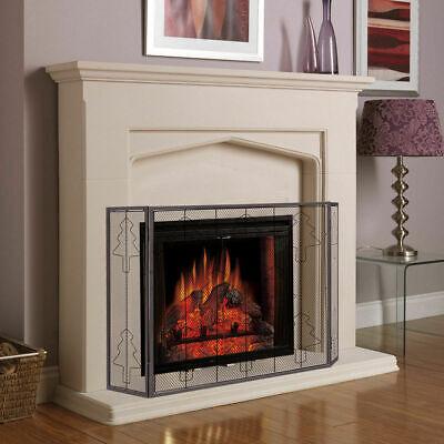 Folding 3 Panel Steel Fireplace Screen Doors Heavy Duty Chri