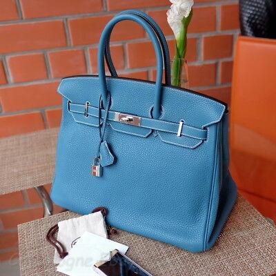 Rare Hermes Birkin 35Cm Blue Jean Togo Palladium P 2012 Brand New Bag Purse