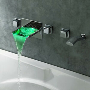 Led Waterfall Wall Mounted Bathroom Bath Filler Mixer Tap