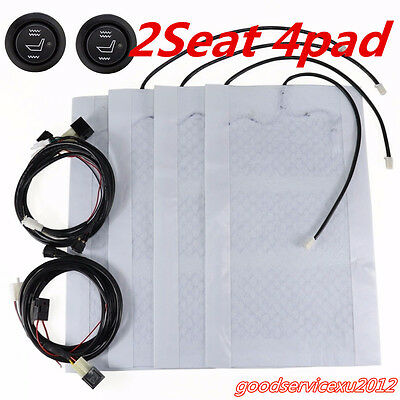 4 Pcs2 Seats Car Offroad 12V Carbon Fiber Heated Seat Covers Heater Cushion Pad