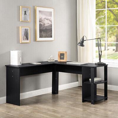 Computer Desk W Storage Shelves Office Study Work Home Bookshelf Wood L-table
