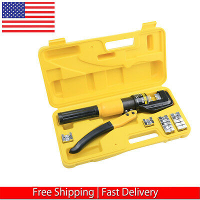 - 8-TON HYDRAULIC CRIMPING TOOL BATTERY CABLE LUG WIRE CRIMPER TERMINAL AND 9 DIES