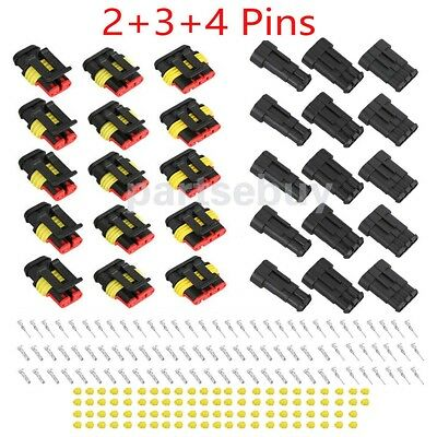 15 Kits 2+3+4 Pins Way Car Super Seal Waterproof Electrical Wire Connector (2 Pin Way Sealed Waterproof Electrical Wire Connector)