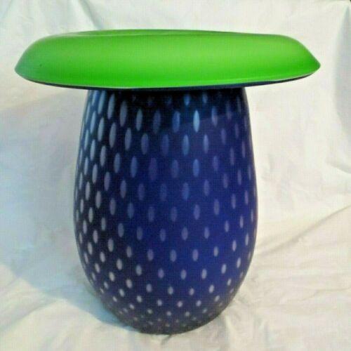 "CASED STUDIO ART GLASS EX.LG. SIGNED VASE Royal Blue & Lime Green (12"" tall)"