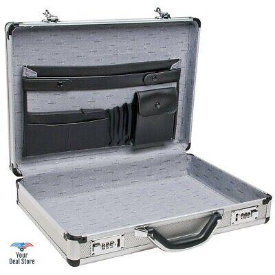 Metal Briefcase Aluminum Hard Brief Case Large Document Bag Laptop Carrier Lock