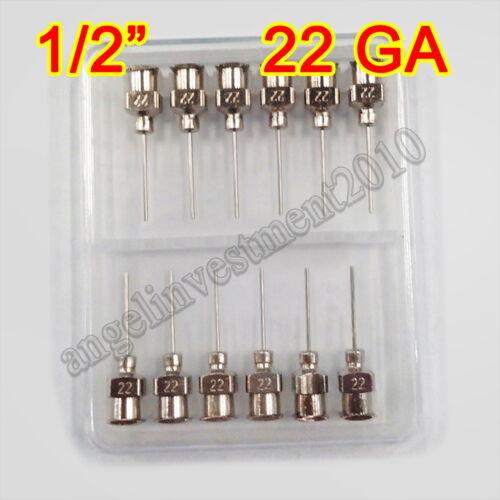 "12pcs 1/2"" 0.5 inch 22GA Blunt stainless steel dispensing syringe needle tips"