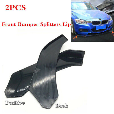 A Pair Car Front Bumper Splitter Lip Black ABS Body Exterior Styling Accessories