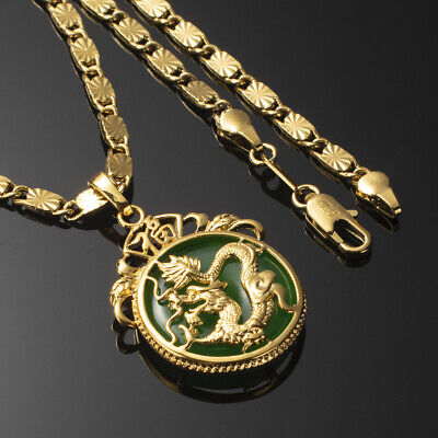 Mens 24K Yellow Gold Filled  Dragon Malay Jade Pendant Necklace Jewellery 60cm