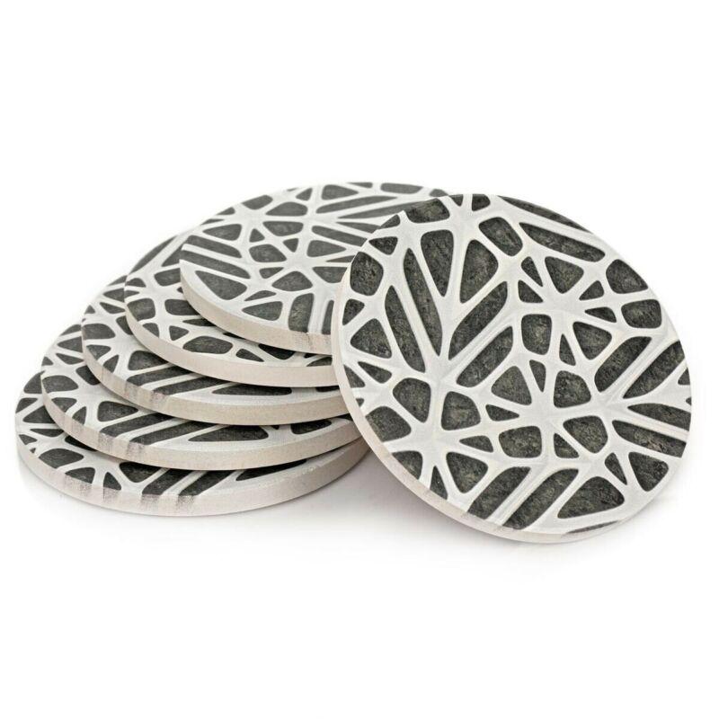 Coasters Absorbent Set Of Six Ceramic Coaster Modern Gray White
