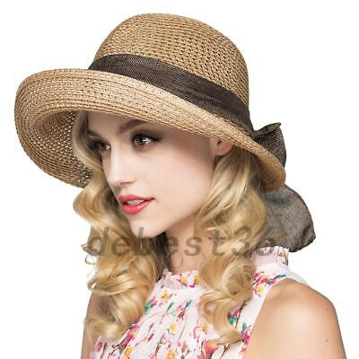 Wedding Party Straw Sun Hat Sunhat Beach Summer Visor Cap Wide Brim Bowknot Gift - Party Straw Hats