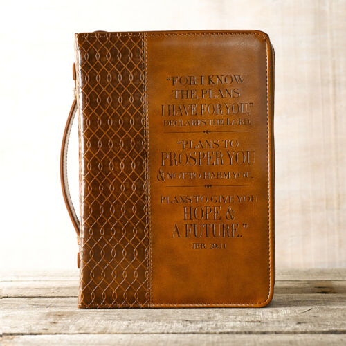 """NEW! Bible Cover For I Know The Plans TwoTone Brown 6 5/8"""" x 9 5/8"""" x 1 3/4"""""""