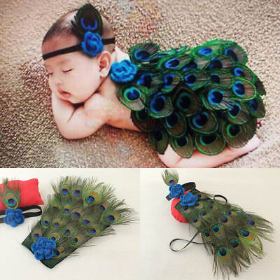 Newborn Baby Peacock Photo Photography Prop Costume Headband Hat Clothes Set