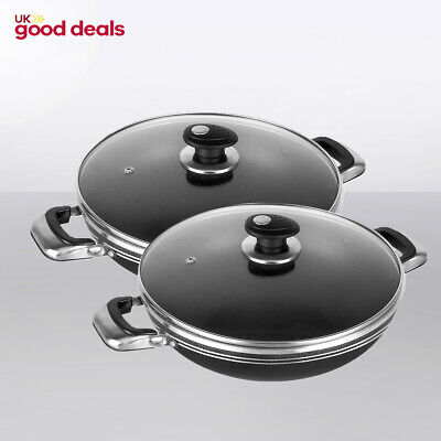 Two Handle Wok Una Non Stick Cooking Pan With Glass Lid Black Aluminium 24-26 cm - Handle Wok