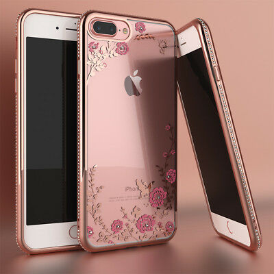 For iPhone 8 6 7 Plus Case Phone Shockproof Bumper Glitter Bling TPU Clear Cover