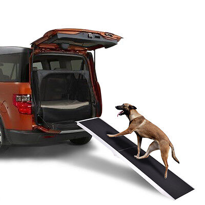 7Ft Portable Aluminum Folding Pet Paw Safe Dog Ramp Ladder Incline Car Truck SUV