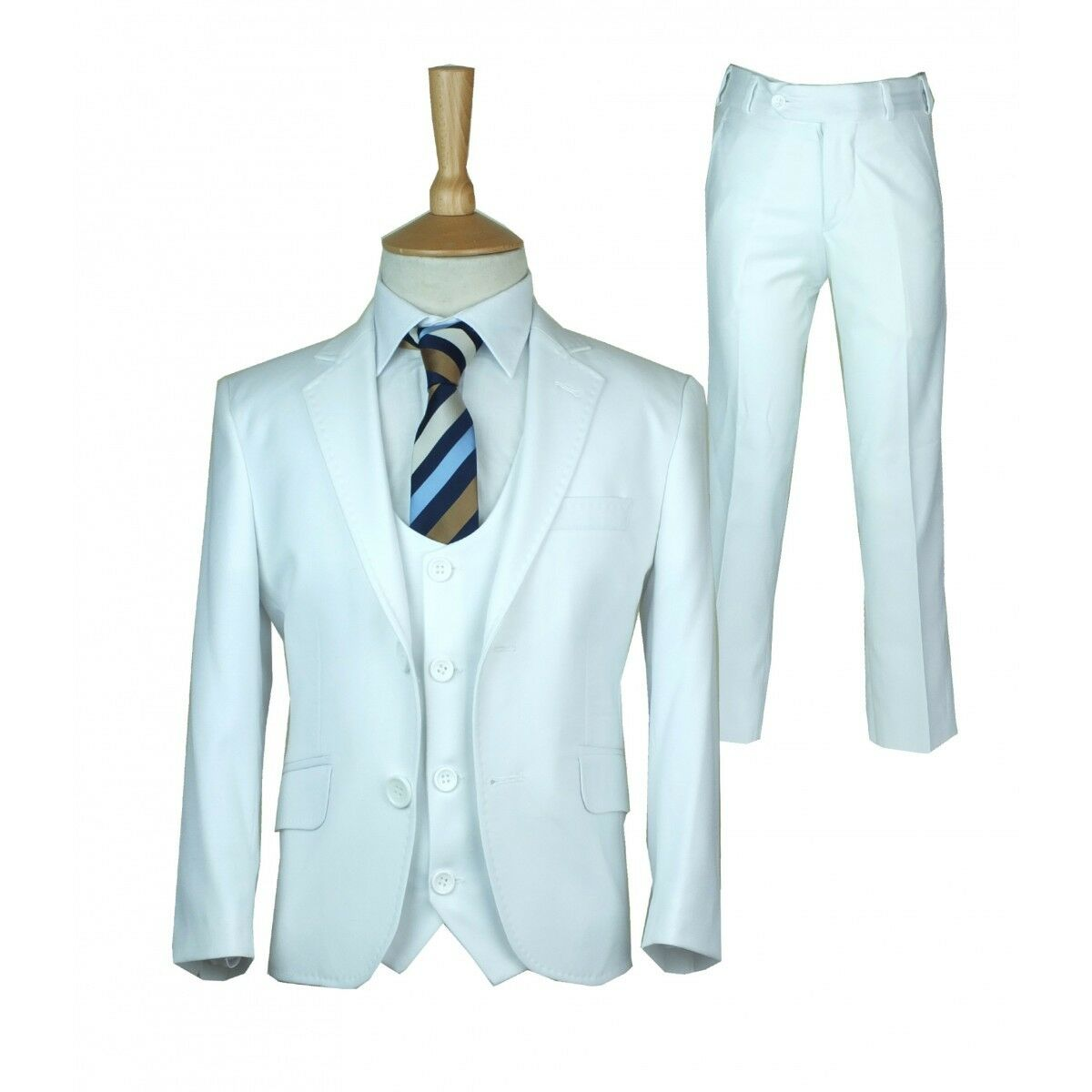 Boys White Communion Suit Designer Page Boy Wedding Slim Fit Suit in ...