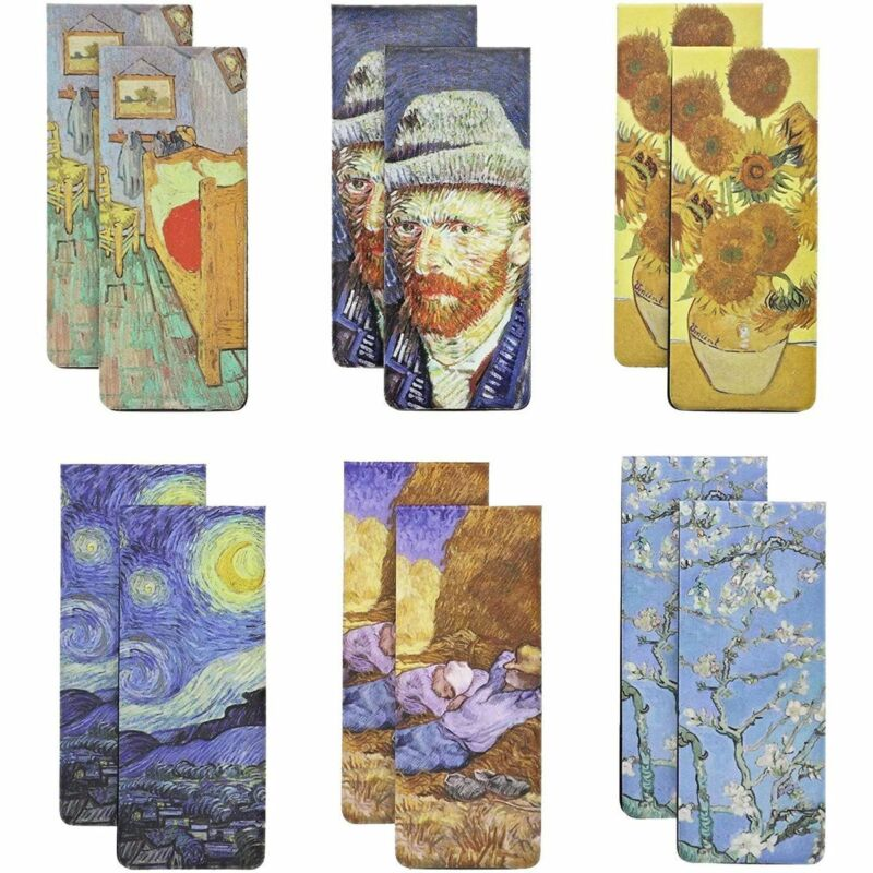 Van Gogh Magnetic Bookmarks in 6 Designs (0.8 x 2 Inches, 12-Pack)